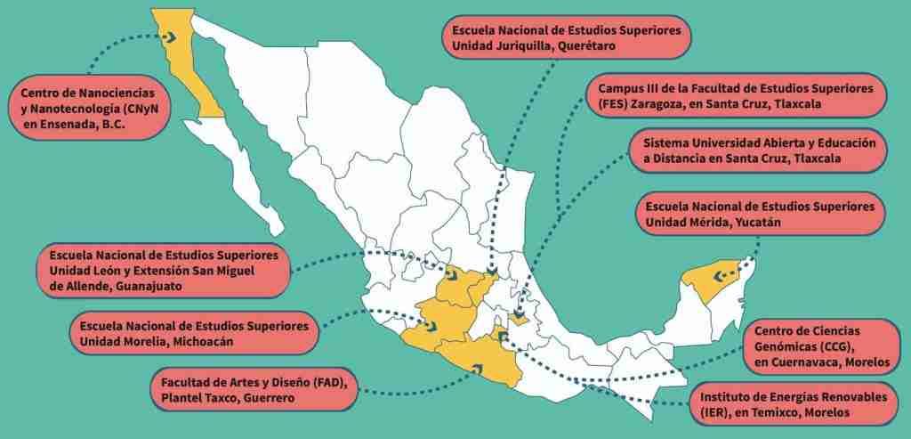 Sedes Foráneas de aplicación del examen UNAM