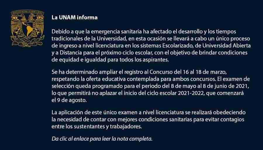Aviso importante UNAM